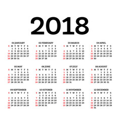 calendar 2018 isolated on white background vector image