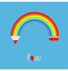 Colored pencil in shape of rainbow in the sky Love vector image vector image