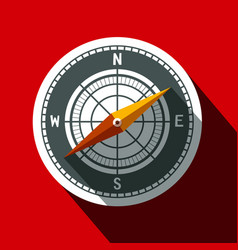 Compass symbol long shadow flat design circle icon vector