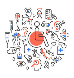 Disability concept medical icons signs isolated on vector
