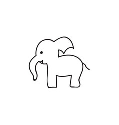 Doodle elephant animal icon vector