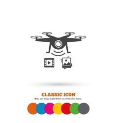 Drone icon Quadrocopter with video camera vector image vector image
