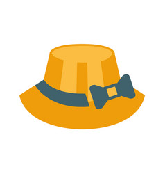 Female straw hat with ribbon and bow part of vector