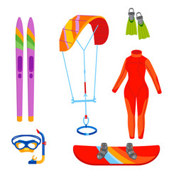 Fun water extreme sport kiteboarding surfer vector
