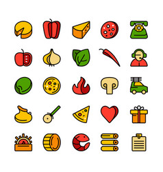 Icon set for pizzeria vector