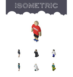 Isometric person set of male investor medic and vector
