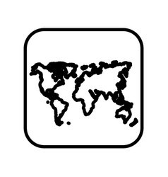 monochrome contour square with world map vector image