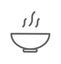 monochrome line bowl icon on white background vector image