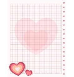 Pink squared paper sheet background with heart vector image vector image