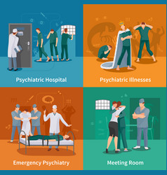 Psychiatric illnesses concept icons set vector
