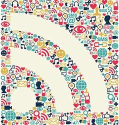 Social media RSS icon texture vector image