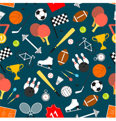 Sporting equipment and item seamless pattern vector