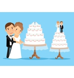 Wedding cake with bride and groom vector