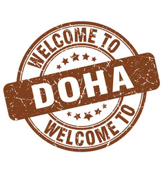 Welcome to doha brown round vintage stamp vector