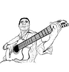 guitarist ink sketch vector image