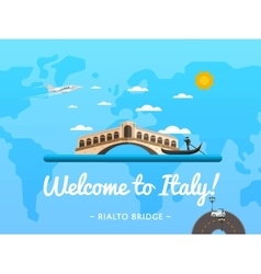 Welcome to italy poster with famous attraction vector
