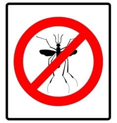 Warning prohibited sign with mosquito with stop vector