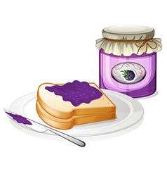 A slice bread and a bottle of grape jam vector