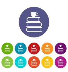 Stack of books and white cup set icons vector image