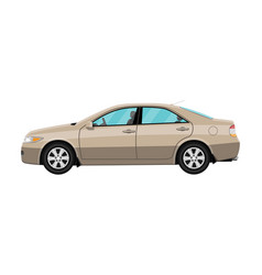 Generic brown sedan car isolated on white vector