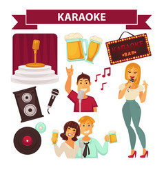 Karaoke club party icon attributes poster on white vector