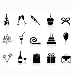 black celebration icons set vector image
