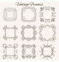 Set of frames hand-drawn calligraphic and vector