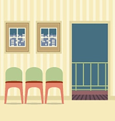 Three chairs in empty room vector