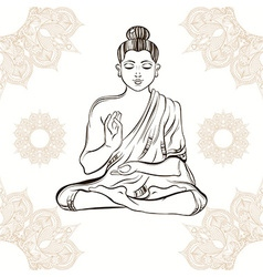 Hand drawn buddha in meditation on vintage vector