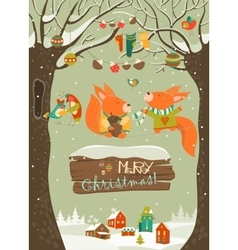 Cute squirrels celebrating christmas vector