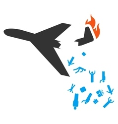 Falling passengers from airplane icon vector
