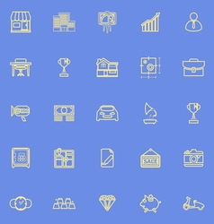 Asset and property yellow line icons vector