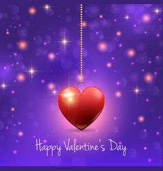 Valentines Day background with hearts and lights vector image