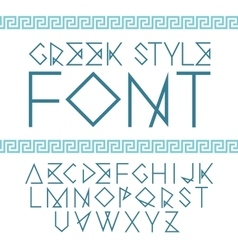 Linear font greek style with ornament vector