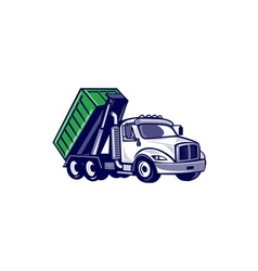 Roll-off truck bin truck cartoon vector