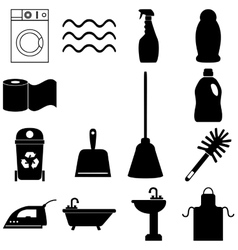 Cleaning service icons set Flat style vector image