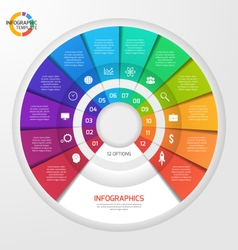 Circle infographic template 12 options vector