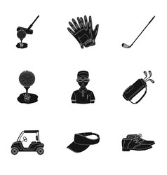 A golfer a ball a club and other golf attributes vector
