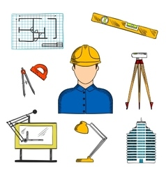 Architect or engineer with construction symbols vector