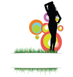beauty girl on the grass photo two vector image