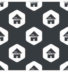 Black hexagon house rent pattern vector