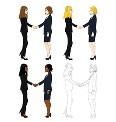 Business two women hand shake vector