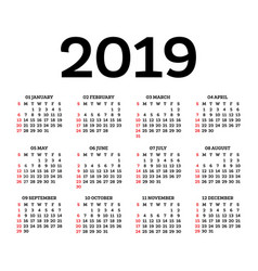Calendar 2019 isolated on white background week vector