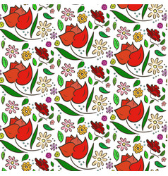 Colorful flowers pattern with big roses and leaves vector
