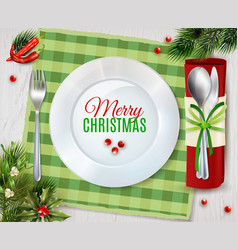 Cristmas dinner cutlery realistic composition vector