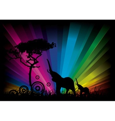 elephant rainbow background vector image vector image