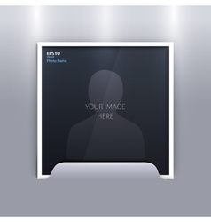 Empty photo frame on grey background vector