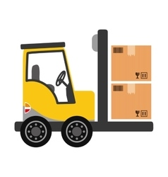 Forklift delivery cargo vector