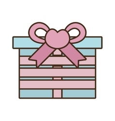 Gift box ribbon bow pink heart vector