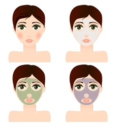 Girl portrait with facial skin mask vector